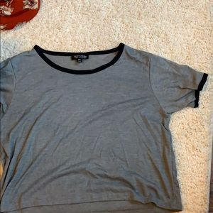 Grey and black crop topshop shirt
